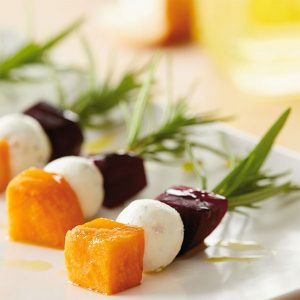 Beet, Orange and Cheese Skewers