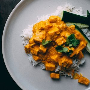 plated curry chicken